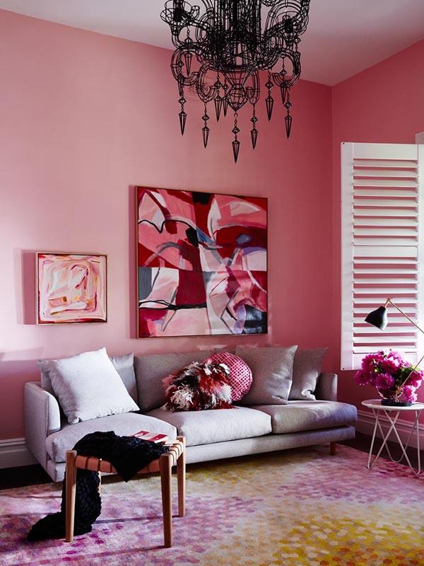 Стильные розовые интерьеры