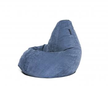 Кресло мешок груша L Gray-Blue Velvet
