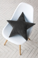 Подушка звезда Gray Velvet черная