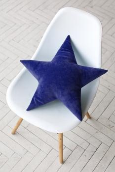 Подушка звезда Blue Velvet темно-синяя
